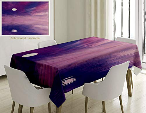 - Unique Custom Cotton And Linen Blend Tablecloth Space Surreal Spectacle With Little Stars And Full Moon Reflecting On Sea Fuchsia Violet Blue WhiteTablecovers For Rectangle Tables, 60 x 40 Inches