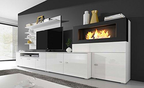 Home innovation- Moderne Wohnwand, TV-Lowboard, Esszimmer mit Kamin ...