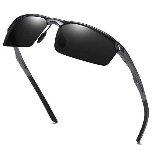 Sunglasses for Men Sports Driving Cycling Running Fishing Golf Unbreakable Frame Metal Driver Sunglasses (Magnesium Bike Frame)
