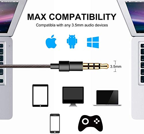 Earbuds with Microphone, in-Ear Headphones and Volume Control, Built-in Mic Earphones for Smartphone Tablet Laptop 3.5mm Audio Plug Devices Black