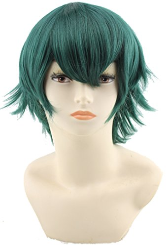 [SIMUSTY Anime Cosplay Wigs Pop Style Universal 150g Short Wigs for Men (Emerald)] (Short Green Wig)