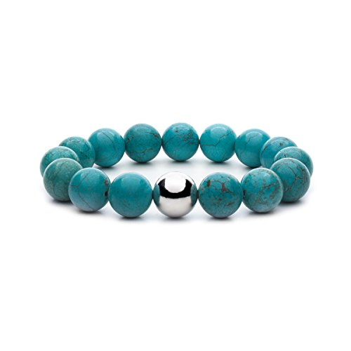 Asortis Women's Turquoise Howlite Sterling Silver Bead 12mm Stretch Bracelet by Asortis