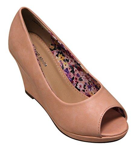 Top Moda Lack-20 women's peep toe platform wedge slip on pumps shoes Blush 8.5