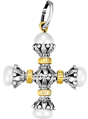Konstantino Women's Sterling Silver, Pearl and 18k Gold Cross Pendant