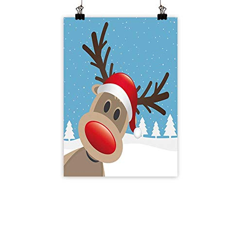 familytaste Christmas Chinese Classical Oil paintingReindeer Rudolph with Red Nose and Santa Claus Hat Snowy Forest for Living Room Bedroom Hallway OfficeLight Blue Red Light Brown -