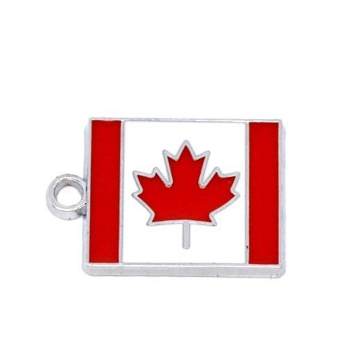 Pack 1 x Red/White Enamel & Alloy 22mm Charms Pendants (Flag Of Canada) - (ZX03975) - Charming Beads