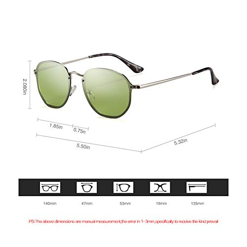 2020Ventiventi AK17023 Fashion Rimless Silver Frame/Clear Green Mirror Lens Oval 47mm Polarized Stainless Steel Sunglasses