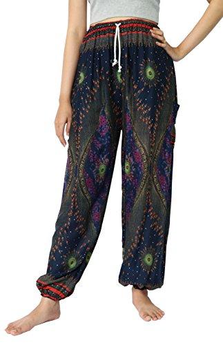 naluck-unisex-boho-hippie-floral-peacock-print-rayon-yoga-harem-pants-ps04-navy5