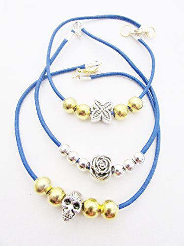 Bracelet set (3) with gold & silver toned beads and charms each strung on royal blue flat suede jewelry - Toned Set Bracelet