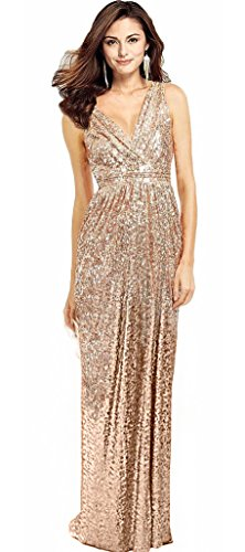 Butmoon Women's Sequin Sleeveless V Neck Long Bridesmaid Dresses