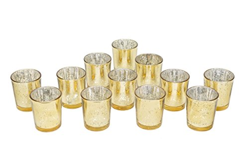 Gold Glittery Mercury Glass Votive Candle Holders (60) by Country Chapel