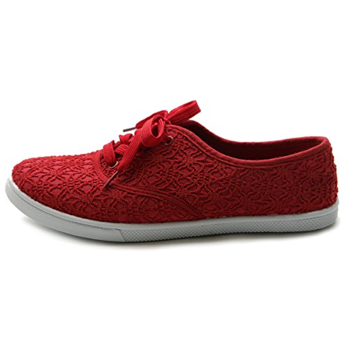 Sneaker Flat Up Lace Shoe Women's Ballet Ollio Red Canvas qX0az