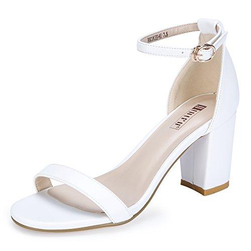 Womens Ladies White Shoe - IDIFU Women's IN3 Cookie-MI Open Toe Mid Block Heel Dress Pump Sandal (White PU, 9.5 B(M) US)