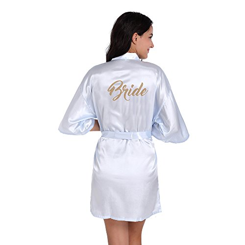 Amzchoice Satin Kimono Wedding Party Getting Ready Robe with Gold Glitter (Lightblue, - Robe Womens Embroidered