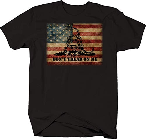 American Flag Don't Tread on Me Snake Tshirt Large Black