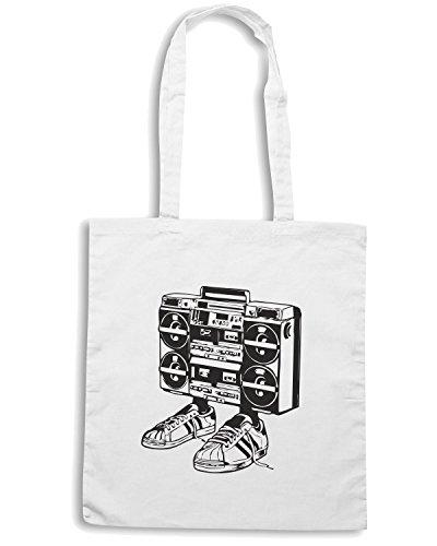 T-Shirtshock - Bolsa para la compra FUN0090 04 20 2013 Boombox T SHIRT det2 Blanco