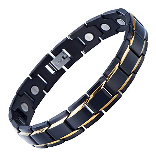 COOLSTEELANDBEYOND Magnetic Stainless Steel Mens Gold Black Power Element Bracelet with Strong Magnets and Free Link Removal Kit (Stainless Steel Magnetic Golf)