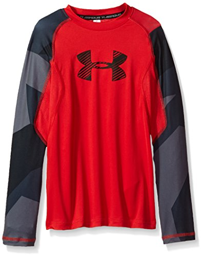 Under Armour Boys' HeatGear Armour Printed Long Sleeve,Red (600)/Black, Youth Large - Boys Coldgear Long Sleeve