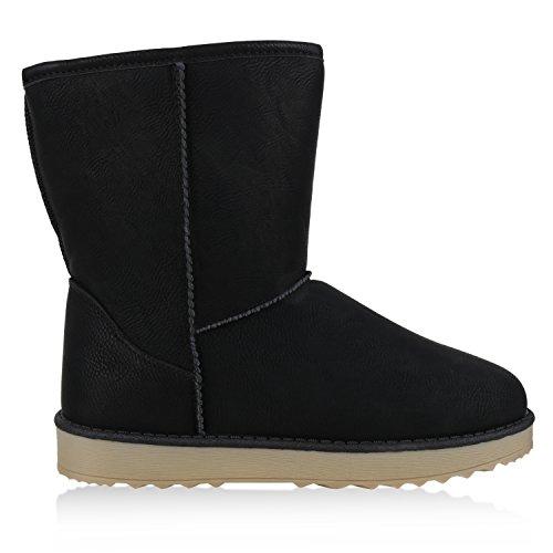 napoli-fashion Damen Schuhe Winter Stiefeletten Schlupfstiefel Kunstfell Gefüttert Jennika Schwarz Glatt
