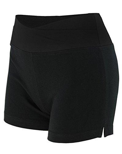 - Basico Women's Lady Cotton Spandex Fold Over Waist Yoga Short Pants (Small, Solid-black)