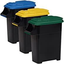 Buddeez Recycling Containers with Color Coded Lids, 8-Gallon/32-Quart, 3-Pack