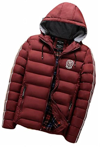 today-UK Mens Winter Thicken Down Quilted Puffer Hooded Outwear Coat Wine Red