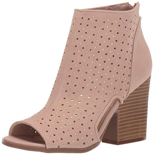Rampage Women's Vionna Perforated Side Cutout Peep Toe Block Heel Ankle Bootie Boot, Dark Blush Nubuck 9 M US -