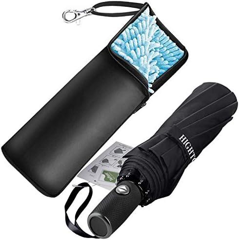 [해외]접는 우산 원터치 자동 개폐 Teflon 가공 10 개 뼈 118cm 210T 고 강도 유리 섬유 내 풍 발 수 비가 겸용 수납 파우치 (블랙) / Folding Umbrella One Touch Automatic Opening and Closing Teflon Processing 10 Pcs 118cm 210T High Strength Fibe...
