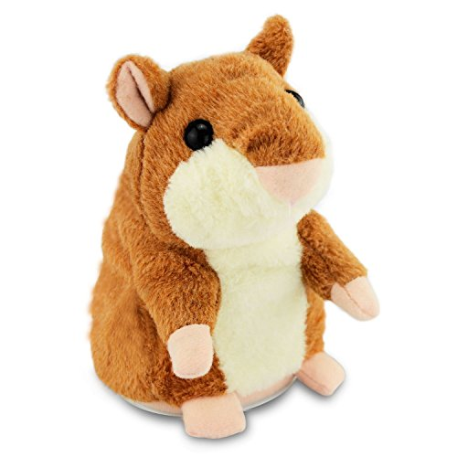 OWIKAR Talking Hamster Mouse Toy, Repeats What You Say And Can Walking Nod Head or Walk Electronic Pet Talking Plush Buddy Hamster Mouse for Child Kids gift (15 cm - Nod and Speak, Bright brown)