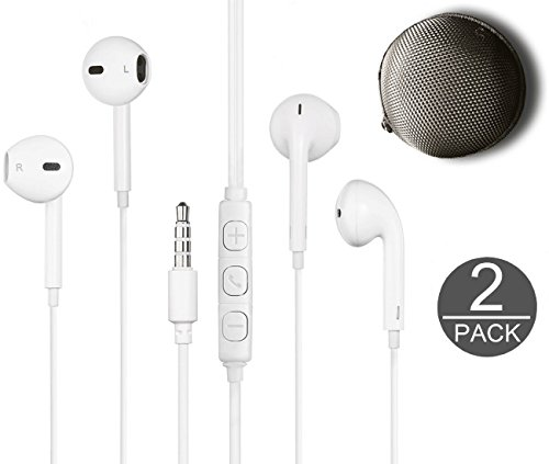 Price comparison product image EAB Earbuds Earpods Wired 3.5mm Headset Microphone with Carrying Case Remote for all smartphones and tablets with 3.5MM (White 2)