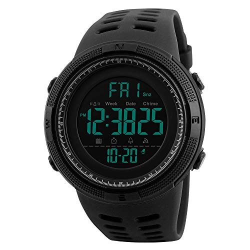 (Men's Digital Outdoor Sports Watch Waterproof Military Stopwatch Countdown Auto Date Alarm (SK 1251 All Black))