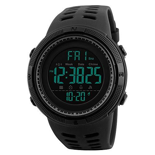 - Men's Digital Outdoor Sports Watch Waterproof Military Stopwatch Countdown Auto Date Alarm (SK 1251 All Black)