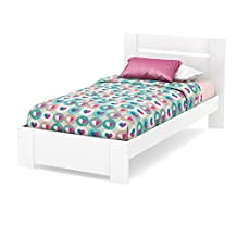South Shore Furniture 3840189  Reevo Twin Bed Set (39-Inch), Pure White