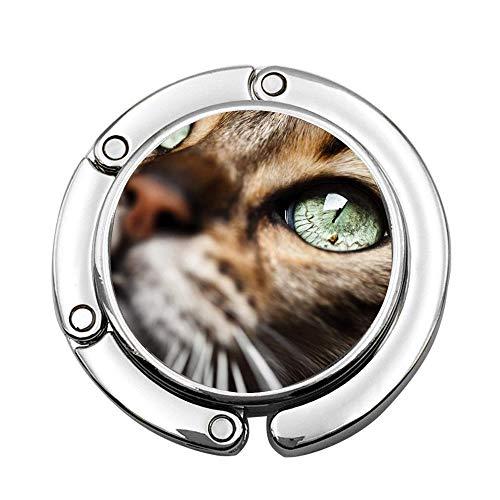 Jackie Prout ss Animal Cat Emerald Eyes Foldable Handbag Hanger Purse Holder Table Hanger for Woman's Bag Storage