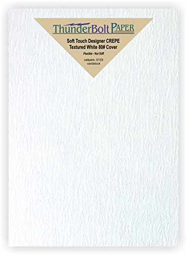 50 New Soft Touch Designer Crepe White Cover Paper 5 X 7 inches, Thick 80lb Card Sheets - Texture Runs Long - Photo and Frame Size -Textured Premium Quality, Flexible (Canvas Textured Cardstock Paper)