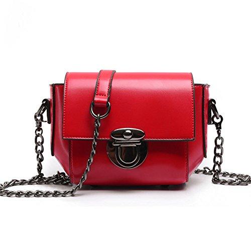 GAOQQ Bolso De La Mujer De Moda Cadena De Verano Femenina Mini Solo Bolso De Hombro Bolso Cuadrado Pequeño Bolso De La Personalidad Trend,Red Red