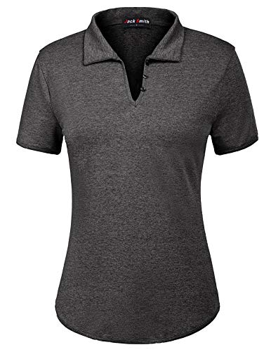 Women's Dry Short Sleeve Golf Polo Button Down Shirt Tops(XL,Black Grey) (Polo Button Down For Women)