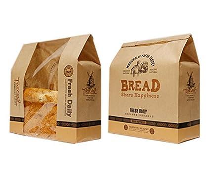 funcoo Pack de 30 papel Kraft envases de alimentos pan Bakery bolsa con ventana frontal,