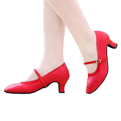Abby Womens Classical Latin Practice Beginner Mary-jane PU Professional Dance-shoes Red LZ5Ukra8y