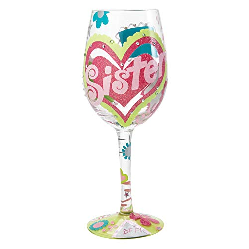Designs by Lolita Sister BFF Hand-painted Artisan Wine Glass, 15 oz.