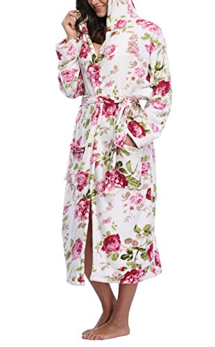 VIKEY Women's Fleece Hooded Robe,Long Bathrobe With ()