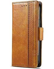 TUUNKMUY Case Compatibel met Huawei Y6p Case, Shockproof Wallet Case Book PU Leer met Kaartsleuven Vouwstandaard Magnetische Krasbestendig Bescherm Flip Cover voor Huawei Y6p Deep Brown