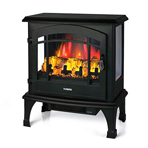 "TURBRO Suburbs TS23 Electric Fireplace Heater, Freestanding Fireplace Stove with Realistic Flame - Brightness Adjustable Effect - Remote Control - Timer - 23"" 1400W Black"