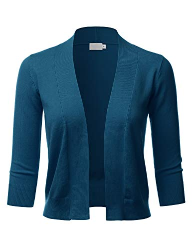 LALABEE Women's Classic 3/4 Sleeve Open Front Cropped Bolero Cardigan-Teal-L