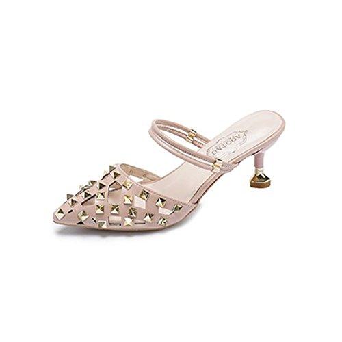 Women Stud Heels Sandals Stiletto Pointed Toe Slingback Kitten Heel Mule Pumps (Mule Kitten)