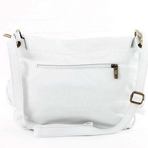 modamoda. de T40Bolso para mujer bolsa de hombro Messenger Bag (Piel de napa Bolso Mediano y Grande Blanco - Blanco