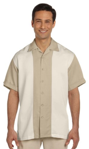 Harriton Men's Two Tone Bahama Cord Camp Shirt, SAND/CREME, X-Large
