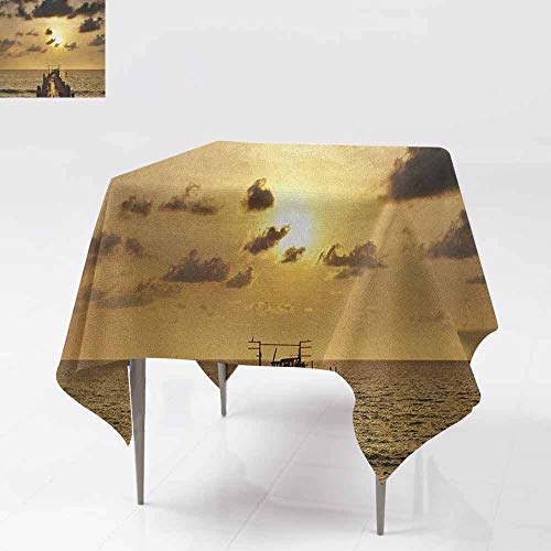 SONGDAYONE Soft Square Tablecloth Landscape Old Wooden Deck Pond Over The Sea Horizon Sunset Time of The Day Peaceful Scene Suitable for Cafeteria Yellow Grey W50 xL50