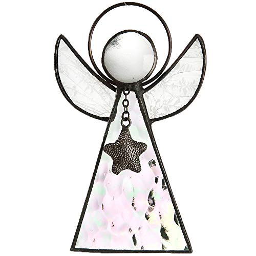 (J Devlin Orn 215 Series Stained Glass Angel Ornaments Window Christmas Tree Decor Gift (Clear- Iridized))