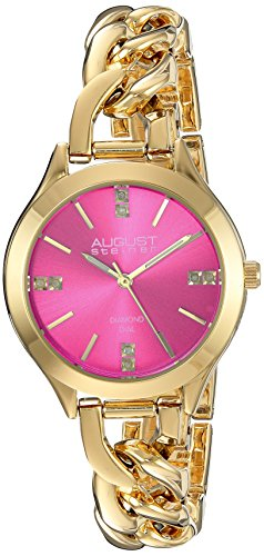 August Steiner Women's Genuine Diamond Gold-Tone Case with Pink Dial and Gold-Tone Steel Chain Link Bracelet Watch AS8222YGPK